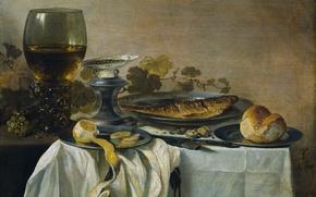 Обои рыба, бокал, еда, Натюрморт, лимон, Питер Клас, картина