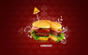 Картинка минимализм, вектор, Гамбургер