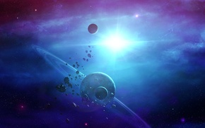 Картинка космос, туманность, звезда, планеты, кольца, астероиды, арт