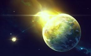 Картинка light, yellow, stars and planets