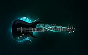 Обои обработка, синий, гитара