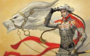 Картинка дракон, меч, арт, броня, парень, takayama toshiaki