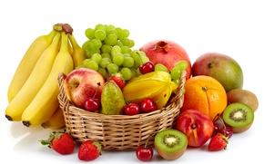 Обои киви, гранат, ягоды, белый фон, фрукты, апельсин, корзина, груша, вишня, яблоки, виноград, бананы, клубника