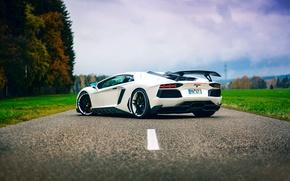 Картинка дорога, небо, тюнинг, Lamborghini, белая, Aventador