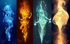 Картинка вода, свет, девушки, огонь, стихии, аниме, арт, электричество, sailor mars, Bishoujo Senshi Sailor Moon, mizuno …