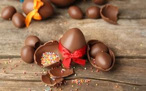 Картинка шоколад, яйца, Пасха, chocolate, Easter, eggs, decoration, Happy
