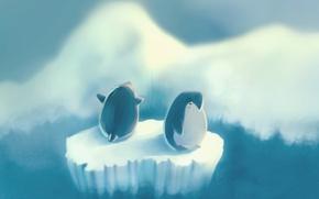 Картинка рисунок, пингвины, пингвин, льдина, островок, vincent, author