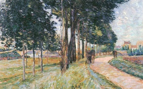 Картинка пейзаж, мост, город, люди, дома, картина, Канал, прогулка, аллея, Арман Гийомен