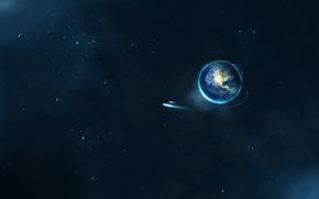 Обои Земля, Звезды, Полет, Earth, Планета