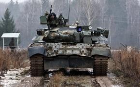 Картинка красота, Лес, Грязь, броня, Россия, экипаж, Т-80У