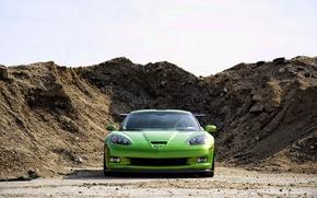 Обои Chevrolet, ЗЕЛЁНЫЙ, ЗЕМЛИ, НАСЫПЬ, Corvette