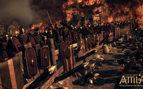 Картинка огонь, битва, оборона, total war, стратегия, римляне, укрепление, тотальная война, варвары, creative assembly, attila