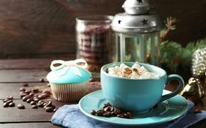 Картинка кофе, молоко, печенье, фонарь, чашка, cup, какао, coffee, cakes, cocoa, milk, торты, lantern, biscuits