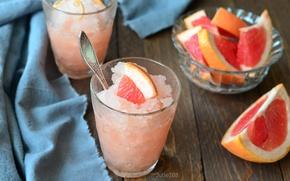 Обои грейпфрут, лед, десерт
