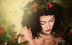 Картинка грусть, девушка, бабочки, брюнетка, клубника