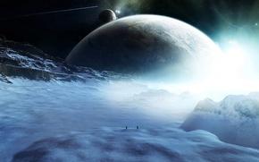 Обои планеты, снег, комета, люди, путники, фигуры, космос, звезды