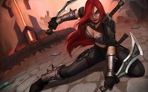 Картинка девушка, рыжая, League of Legends, Katarina, Sinister Blade