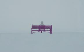 Обои туман, человек, скамья, настроение