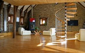 Обои комната, гостинная, интерьер, лестница, стиль