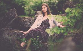 Картинка dress, woman, rocks, sunlight