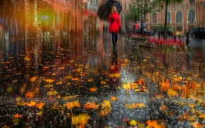 Обои осень, в красном, девушка, листва, Санк-Петербург, улица, Питер, город, зонт