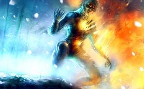 Картинка снег, огонь, лёд, существо
