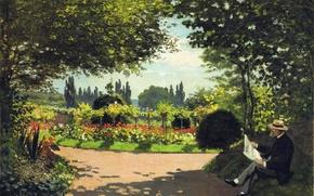 Картинка парк, отдых, картина, сад, Клод Моне