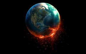 Обои свечение, цифры, Знамение, Планета