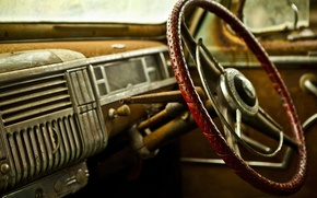 Картинка car, машина, макро, ретро, фон, widescreen, обои, руль, wallpaper, салон, разное, close-up, широкоформатные, retro, background, …