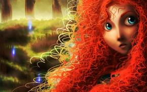 Обои веснушки, арт, рыжая, лицо, brave, огни, кудри, девушка, merida, лес