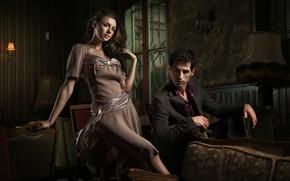 Картинка взгляд, девушка, сумрак, платье, окно, кресла, мужчина, шатенка, пиджак, светильники