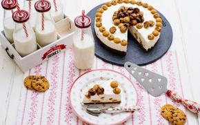 Обои суфле, торт, печенье, шоколад, молоко