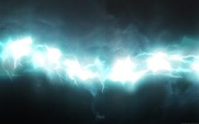 Обои молнии, белый, голубой, свечение