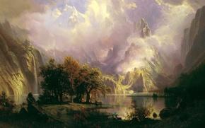 Обои водопад, картина, озеро, Пейзаж Скалистых Гор, Альберт Бирштадт