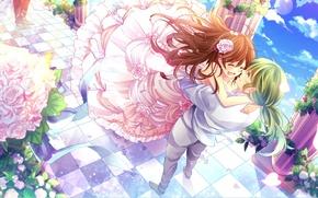 Картинка счастье, цветы, слезы, двое, много, пышная юбка