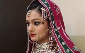 Картинка девушка, украшения, восточная, свадебный макияж, muslim bridal makeup