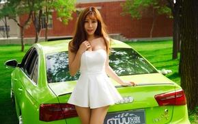 Картинка Audi, Car, Green, White, Pretty, Dress, Attractive, Yan Jiaqi