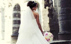Картинка букет, платье, невеста, фата