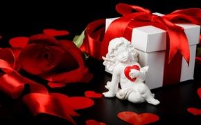 Обои коробка, подарок, роза, лента, сердечки, red, rose, box, hearts, купидон, Valentine's day, День Святого Валентина, ...