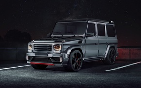 Обои mercedes-benz, g63, amg, black stone, tuning, night, front