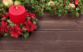 Картинка украшения, шары, Новый Год, Рождество, Christmas, balls, decoration, candle, остролист, Merry