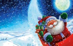 Картинка снег, новый год, дед мороз