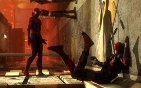 Картинка стена, удар, Deadpool, marvel comics, Spider-Man