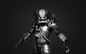 Картинка фантастика, черно-белый, хищник, predator, злоба