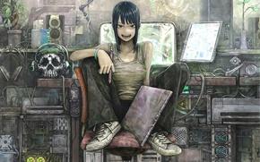 Картинка девушка, череп, наушники, компьютеры, телефон, монитор, планшет