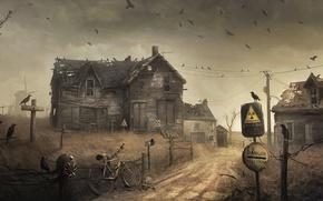 Обои радиация, забор, вороны, опасная зона, дом, мельница