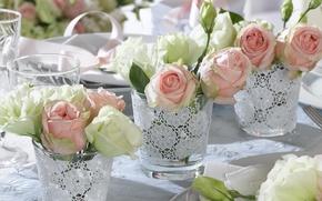 Картинка белый, розовый, праздник, розы, бутон, ваза, свадьба, декор, сервировка