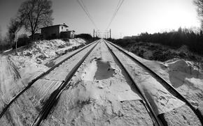 Картинка зима, снег, перспектива, черно-белая, железная дорога