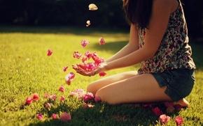 Картинка лето, девушка, солнце, лучи, свет, фон, настроение, обои, картинки, лепестки, день, wallpapers