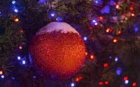 Картинка снег, синий, красный, игрушка, новый год